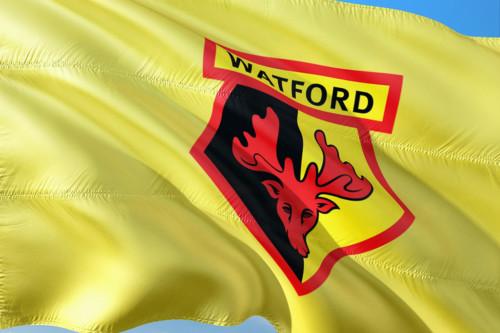 Le logo de Bitcoin sur le maillot du club anglais Watford FC